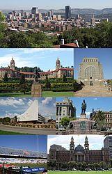 Montage of Pretoria - From the top, left corner clockwise:Pretoria CBD skyline… Pretoria, Nelson Mandela, Kruger National Park, National Parks, Monuments, Market Hall, Places To Travel, Places To See, Apartheid Museum