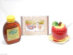 Rosh Hashana Gift Handmade Apple Ceramic Honey Pot + Organic Kosher Honey #Handmade