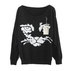 Celeb Street Style Round Neck Cat Face Knitting Pullover Sweater