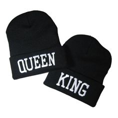 54d9fe2427a Show them who s KING or QUEEN with this stylish black beanie! Please note  these are sold separately.