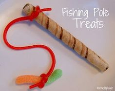 Fishing pole snacks for an underwater party!