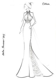 CICLAMEN. Atelier Pronovias 2015 Dress Design Drawing, Dress Design Sketches, Fashion Design Sketchbook, Dress Drawing, Fashion Design Drawings, Fashion Sketches, Drawing Sketches, Fashion Illustration Tutorial, Dress Illustration