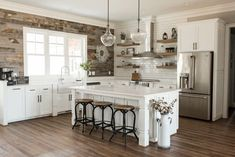 There is no question that designing a new kitchen layout for a large kitchen is much easier than for a small kitchen. A large kitchen provides a designer with adequate space to incorporate many convenient kitchen accessories such as wall ovens, raised. Farmhouse Kitchen Cabinets, Farmhouse Style Kitchen, Modern Farmhouse Kitchens, Home Decor Kitchen, New Kitchen, Home Kitchens, Awesome Kitchen, Kitchen Countertops, Soapstone Kitchen