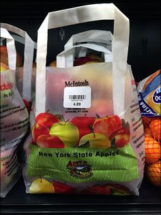 The fresh appearance and immediacy of bulk produce sales is preserved by the open-top appeal of these New York State branded bags of McIntosh Apples. Reinforced carries are a separate element and a...