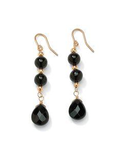 Onyx Drop Pierced Earrings   Sonsi