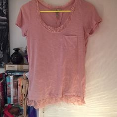 American rag pink t-shirt American rag pink t-shirt with lace on bottom and back. Great condition! American Rag Tops