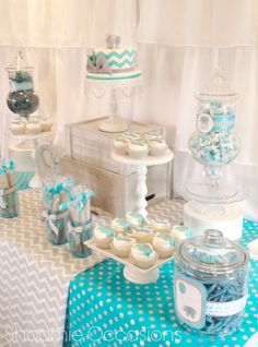Elephant and Balloon Dessert Table www.facebook.com/shoomieoccasions #babyshower #graychevron