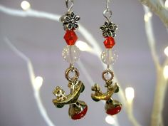 rudolph earrings, christmas earrings, reindeer earrings, Tibetan silver, opal earrings, xmas earrings, festive jewelry - by Tamara Harris by THWoodlandCreatures on Etsy