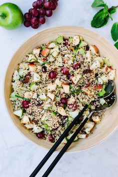 APPLE HARVEST QUINOA SALAD + SWEET TAHINI DRESSING... A delicious fall quinoa salad with apples, grapes, celery, raisins, almonds and a hint of cinnamon. Add a drizzle of the sweet tahini dressing for even more flavor, but it's delicious without it too!