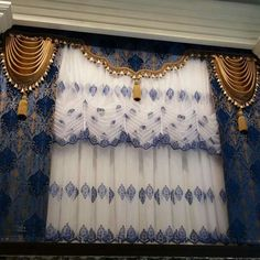 Classic Curtains, Elegant Curtains, Beautiful Curtains, Modern Curtains, Diy Bay Window Curtains, Swag Curtains, Home Curtains, Rideaux Design, House Front Porch