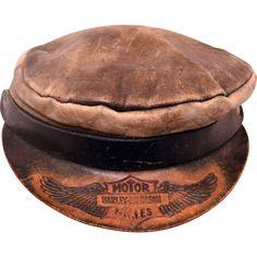 Vintage Harley Davidson Captains Hat Leather & Wool with ...  |Vintage Harley Davidson Hats