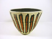 "GORKA LIVIA WHITE RETRO POT WITH BLACK & ORANGE STRIPES 6.4"",1950'S ART POTTERY!"