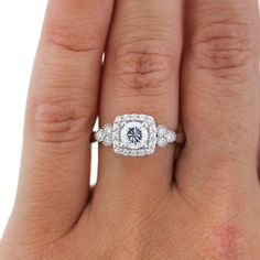 beautiful diamond halo with engagement ring in white gold from A. Jaffe