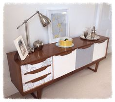 Retro G Plan sideboard makeover. Wallpaper and paint is all you need - love it!