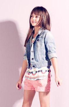 Cute kid style with denim and pastel shorts!