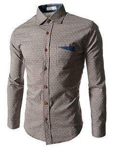 (CZ51-GRAY) Slim Fit Floral Pattern 1 Chest Pocket Patched Long Sleeve Shirts