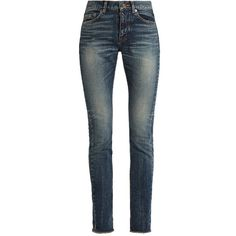 Saint Laurent Mid-rise skinny jeans (44.140 RUB) ❤ liked on Polyvore featuring jeans, pants, high rise skinny jeans, high-waisted skinny jeans, skinny jeans, denim skinny jeans and high waisted skinny jeans