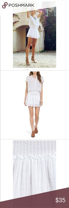 """Jolie cotton dress This comfy white cotton dress is perfect for an afternoon garden party, a beach coverup, it is a perfect spring or summer dress. Its not as short as appears in pictures.  Im 5'3"""" and it hits about 3"""" above my knees. Worn once. Jolie Dresses Mini"""