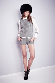 A/W 2013/14 Misha Nonoo.  Nice textured knit and feathers coming out of shirt cuffs.