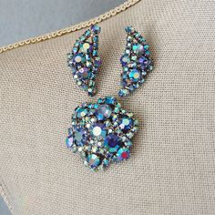 1960s Blue Rhinestone Brooch and Earrings Set by FeraliaVintage