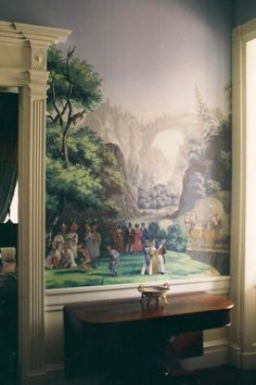 """thefoodogatemyhomework:Glorious, ancient, """"Scenes of North America"""" hand painted Zuber paper in the halls of historic Monmouth Hall, in Natchez, Mississippi"""