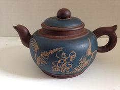 Chinese Yixing Teapot Antique or Vintage Inscribed Bird Decoration Blue | eBay