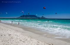 Blouberg Strand in Cape Town on a beautiful day, you can see Table Mountain in the background. Cape Town South Africa, Table Mountain, Landscape Photographers, Water Sports, Beautiful Day, Places Ive Been, The Good Place, African, Fine Art