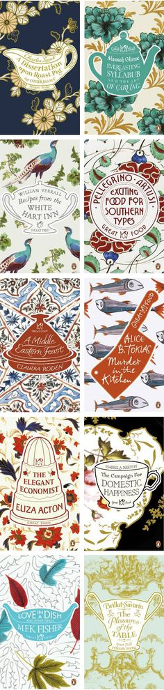 Great Food series, by Coralie Bickford-Smith - Penguin Books Design Web, Book Cover Design, Book Design, Editorial Design, Illustration Arte, Bussiness Card, Beautiful Book Covers, Beautiful Series, Penguin Books