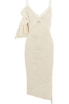 Magda Butrym - Lanus Ruffled Open-knit Cotton-blend Midi Dress - Cream - FR34