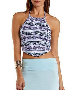 Mixed Print Halter Crop Top