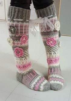 Long wool women ladies socks, Anelmaiset socks, warm winter knitted over the knee socks, striped, colourful knee length / high socks prefer without extra roses. Thigh High Boots Heels, Knee High Socks, Heel Boots, Crochet Slippers, Knit Crochet, Knitting Projects, Knitting Patterns, Knit Boots, Slipper Socks