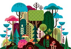 Geometrical illustrationsIllustration, environment, background, backdrop, trees, forest
