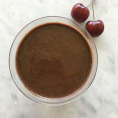 (Use rice milk) Chocolate-Covered Cherry Smoothie makes 2 perfect fruit servings.