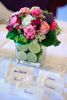 centerpiece with lime so you don't see the stems