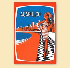 Acapulco greeting card | All-Pop.com | Mexican travel art, travel advertising, travel ads, retro travel poster art, old Acapulco