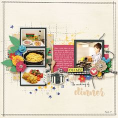 scrapbook layout with 4 photos. I love the stamped grid underneath the cluster in the center.Sweet Shoppe Designs - Making Your Memories Sweeter