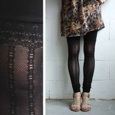 Lace Leggings - Subtle Faux Thigh High