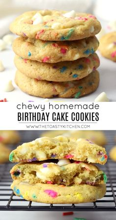 Birthday Cake Cookies Birthday Cake Cookies by The Toasty Kitchen Chocolate Chip Shortbread Cookies, Butter Pecan Cookies, Buttery Cookies, Quick Cookies, Summer Cookies, Baby Cookies, Heart Cookies, Valentine Cookies, Easter Cookies
