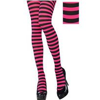 Adult Pink and Black Striped Tights - Party City
