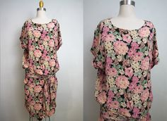 1970s does 1920s flapper dress/ 70s young edwardian dress/ rayon/ floral print/ small- medium.