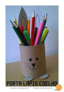 Pintas Laranja: Porta-lápis Coelho