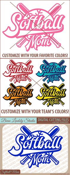Softball Mom SVG, Little League Softball, Softball Shirt Designs, SVG File For Silhouette Pattern and Cricut Projects, SVG Format File, DXF File, PNG Image File.  This design is a fun way to support your softball player, a way to show that you're a proud Mom of a baseball player! By www.beaulindslystudio.com