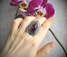 Reserved for S. ----------- Sterling Silver Amethyst Cacoxenite Ring