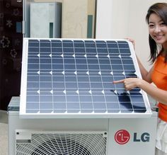Solar Hybrid Air Conditioner from LG Very smart! An air-conditioner connected to it's own solar panel! An air-conditioner connected to it's own solar panel! Solar Panels For Home, Best Solar Panels, Diy Solar, Solar Air Conditioner, Alternative Energie, Solar Roof, Solar Projects, Energy Projects, Solar House