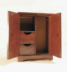 vintage miniature doll's wardrobe furniture wood by secondseed, $25.00