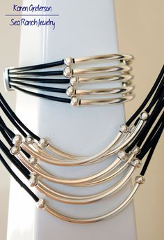 The Simply Curves Jewelry Set Leather Silver by SeaRanchJewelry