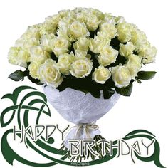 Happy Birthday White Rose Bouquet Gif Flowers Animated Roses