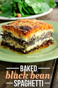Baked Black Bean Spaghetti Recipe - This post brought to you by Ragu. All opinions are mine. I absolutely love lasagna! My family - Veggie Recipes, Real Food Recipes, Great Recipes, Vegetarian Recipes, Cooking Recipes, Healthy Recipes, Going Vegetarian, Delicious Recipes, Healthy Foods
