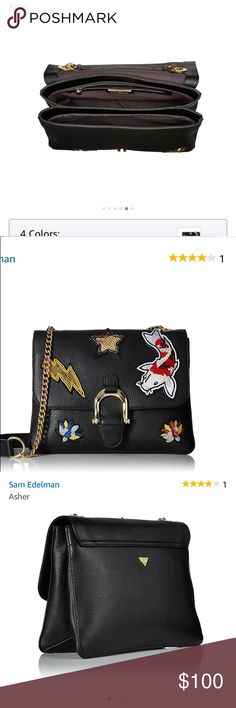 NWT Sam Edelman Asher Bag Supple leather bag adorned with fish, lightning, Star and flower symbols. Perfect for a Christmas gift! Make me an offer and it will be there in time for opening! Sam Edelman Bags Shoulder Bags