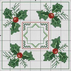 Christmas biscornu chart